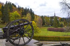Free Old Cannon Barrel Outside In The Autumn Season Stock Images - 27510514