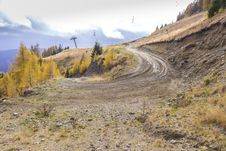 Autumn In Mountain Road And Some Chair Lift Stock Photography