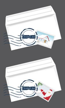 Free Christmas Envelops With Post Stamps Stock Image - 27512991