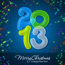Free Merry Christmas And Happy New Year 2013 Royalty Free Stock Photography - 27517777