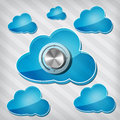 Free Transparency Blue Clouds With Chrome Volume Knob Stock Photos - 27524033