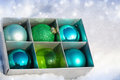 Free Colored Christmas Balls In A Box Stock Image - 27529301