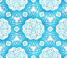 Free Blue Abstract Snowflakes Seamless Pattern Stock Photography - 27520932