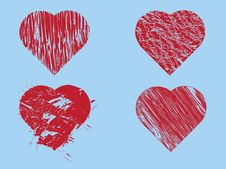 Free Hand Drawn Red Hearts Royalty Free Stock Images - 27524609