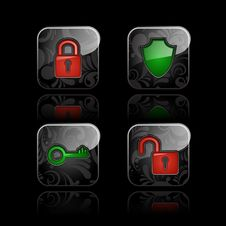 Free Security Icons Royalty Free Stock Photo - 27525085
