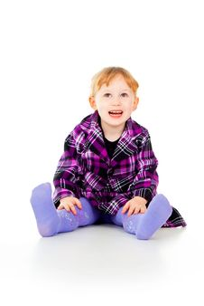 Free A Little Girl In A Dress, Have Fun, Sits Royalty Free Stock Photos - 27526938