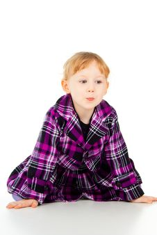 Free A Little Girl In A Dress, Have Fun, Sits Royalty Free Stock Photo - 27526955