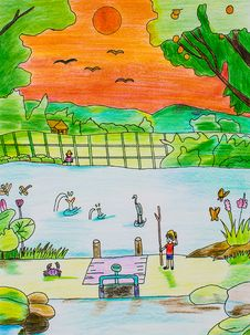 Child S Drawing With Colored Pencils Stock Images