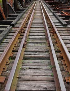 Free Abandoned Railroad Tracks On Bridge. Royalty Free Stock Images - 27537529
