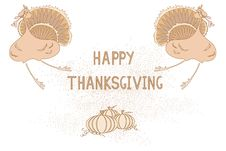 Free Thanksgiving Card With Turkey And Pumpkin Royalty Free Stock Photography - 27538327