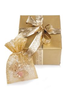 Free Two Golden Presents Stock Photo - 27538750