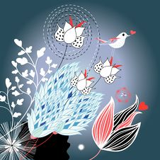 Free Floral Background With A Bird Stock Photos - 27539323