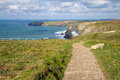 Free South West Coastal Path Bedruthan Steps Cornwall Royalty Free Stock Photo - 27541095