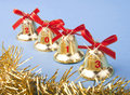 Free Christmas Golden Bells And Red Ribbon Royalty Free Stock Image - 27541186