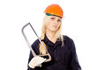 Free Beautiful Girl Builder Keep The Saw For Metal Stock Image - 27547781