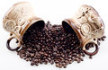 Free Hand Made Cups Spill The Coffee Beans Stock Images - 27547884