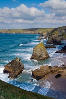 Free Bedruthan Steps Carnewas Cornwall England Stock Photography - 27541352