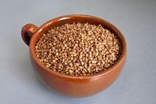 Buckwheat In Ceramic Bowl Royalty Free Stock Photography
