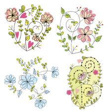 Free Floral Set Royalty Free Stock Photos - 27545308