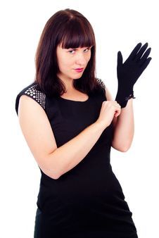 Free Beautiful Girl Poses, Wears Gloves Stock Image - 27547081