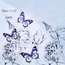Free Blue Vector Greeting Card With Roses Stock Photos - 27550703