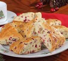 Free Plate Of Cranberry Scones Stock Photography - 27550902