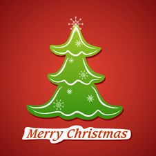 Free Card With Green Christmas Tree Stock Photo - 27551150
