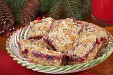 Free Christmas Cranberry And Peanut Butter Bars Stock Image - 27551211