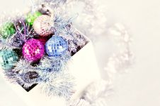 Free Box With Christmas Ornaments Royalty Free Stock Image - 27552096