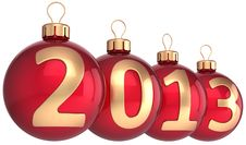 Free Happy New Year 2013 Bauble Merry Christmas Balls Stock Images - 27553244