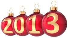 Free Christmas Balls 2013 New Year Bauble Decor Stock Image - 27553271