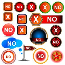 Free No Icons Set Royalty Free Stock Images - 27556249
