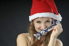 Free Christmas Funny  Girl With Candy Royalty Free Stock Images - 27557489