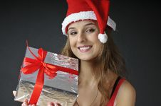 Christmas Smiling  Girl  Holds  Gift Stock Photos