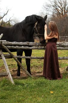 Free Formal Young Lady And Her Horse Stock Photo - 27557850