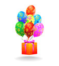 Free Multicolored Balloons And Gift Box. Vector Royalty Free Stock Image - 27569806