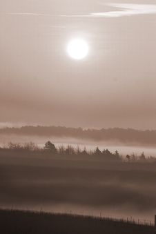 Foggy Sunrise Stock Photos