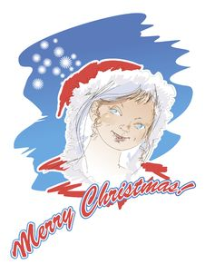 Portrait Of A Snow Maiden On A Christmas Card Stock Photo