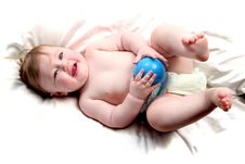 Free Baby Playing With Blue Ball Stock Photo - 27563600