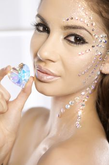 Picture Of Lovely Woman With Diamond Heart Stock Photo