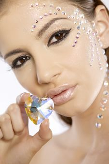 Picture Of Lovely Woman With Diamond Heart Royalty Free Stock Images