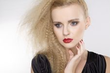 Young Pretty Woman With Beautiful Blond Hairs Stock Images