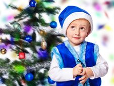 Free Boy In A Cap Of Santa Claus Stock Photography - 27565312