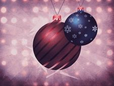 Free Two Christmas Balls On Grunge Background Stock Image - 27566311