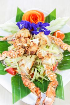 Free Thai Seafood, Crap Salad With Flowers Decoration Stock Photo - 27567230
