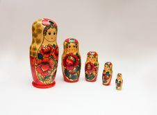 Free Russian Matroska Doll Family: Retro Series Pos. 01 Royalty Free Stock Images - 27570669