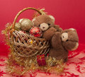 Free New Year Greeting Card With Teddy Bear . Stock Photography - 27589702