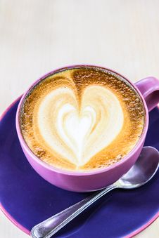 Free Cappuccino Coffee With Heart Drawing In Blue Cup Royalty Free Stock Photo - 27581595