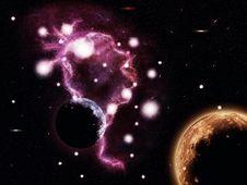 Free Big Pink Nebula And Planets Royalty Free Stock Image - 27582476
