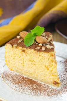 A Piece Of Pumpkin Cheesecake Close Up Vertical Royalty Free Stock Image
